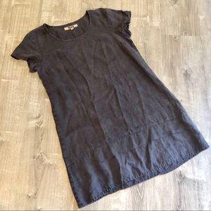 Flax Short Sleeve Charcoal Ruffle Bottom Dress Sm